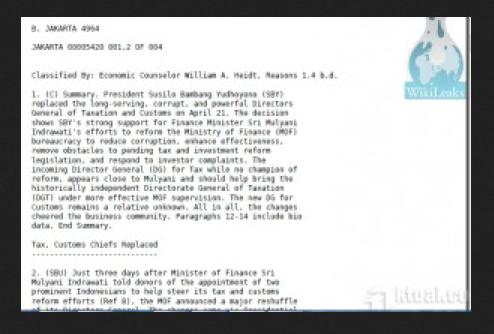 Bocoran Wikileaks Menjelaskan Cara Kaum Neolib Bekerja