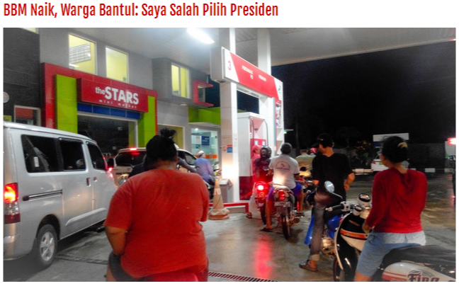 BBM Naik, Wah Salah Milih Presiden….!