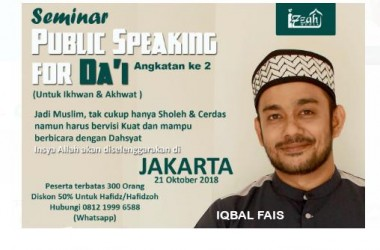 Seminar PUBLIC SPEAKING FOR DA'I bersama Iqbal Fais