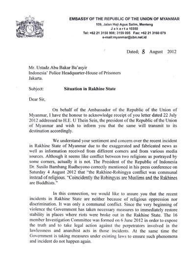 Inilah Surat Balasan Pemerintah Myanmar Untuk Ustadz Ba